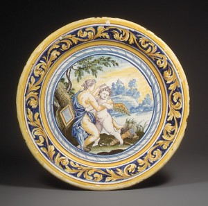 Figure 2: Plate, After an engraving by Odoardo Fialetti (Italian, Bologna 1573–1637/38 Venice), Date: mid-17th century, Culture: French (Nevers), Medium: Faience (tin-enameled earthenware), Dimensions: Diam. 10 in. (25.4 cm). Provenance: Gaston Le Breton (before 1910)