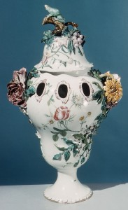 Figure 4: Pair of potpourri vases, Veuve Perrin Factory (only one is pictured here), Date: ca. 1760, Culture: French (Marseille), Medium: Faience (tin-enameled earthenware), Dimensions: H. 18-1/2 in. (47 cm), Classification: Ceramics. Provenance: Count d'Estourmel ; Possibly Marius Bernard (1913–14) ; Gilbert Lévy (1919–20) ; [ Gaston Bensimon (sold to Wilson) ] ; R. Thornton Wilson (until 1950)